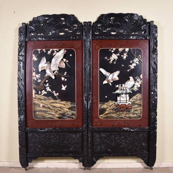 Oriental Antique Two-Panel Screen