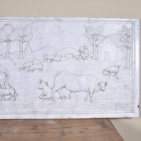 Carved Carrara Marble Relief
