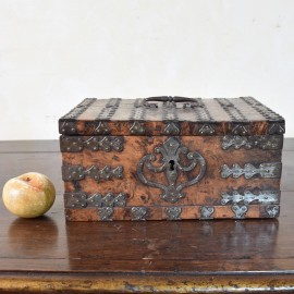 Walnut iron bound coffer. Circa 1700