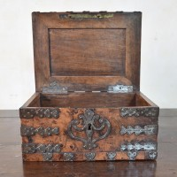Walnut iron bound coffer. Circa 1700