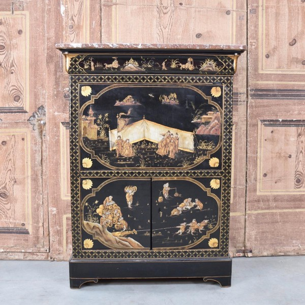 Chinese writing cabinet marble top - Circa 1900