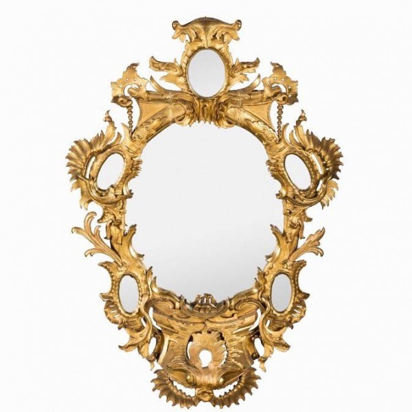 Rococo sculpted and gilded mirror