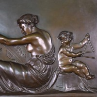 musical scene  bronze panel