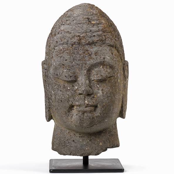 Stone buddha head paul de grande antique