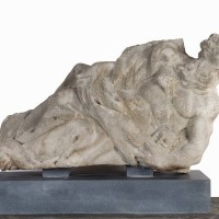Limestone carved figure of Father time