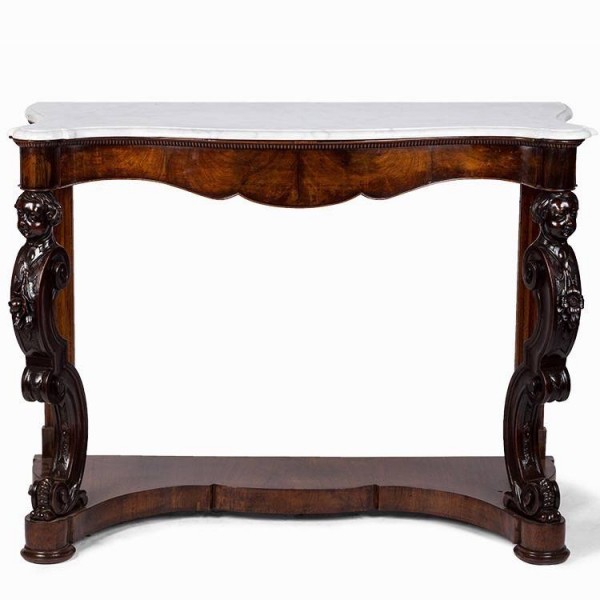 Pair of mahogany consoles with white marble top