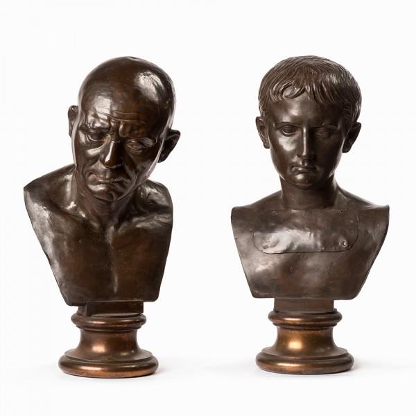 pair of bronze busts, circa 1800