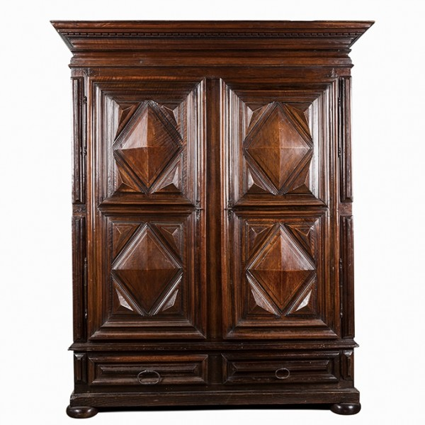 18th c. walnut point diamant cabinet