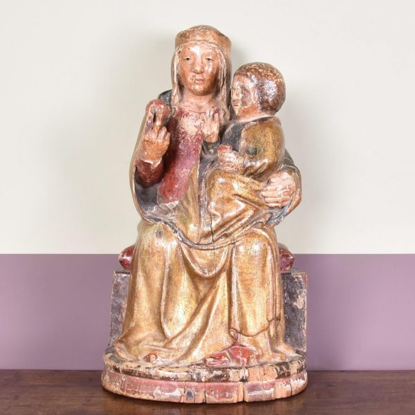 15th C - Polychromed Virgin and child