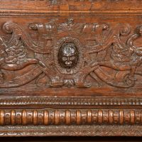 French sculpted oak coffer 17th C