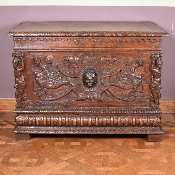 17th century French sculpted oak coffer