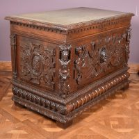 French sculpted oak coffer 17th century