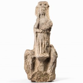 Normandie 15th c. Limestone Virgin and Child