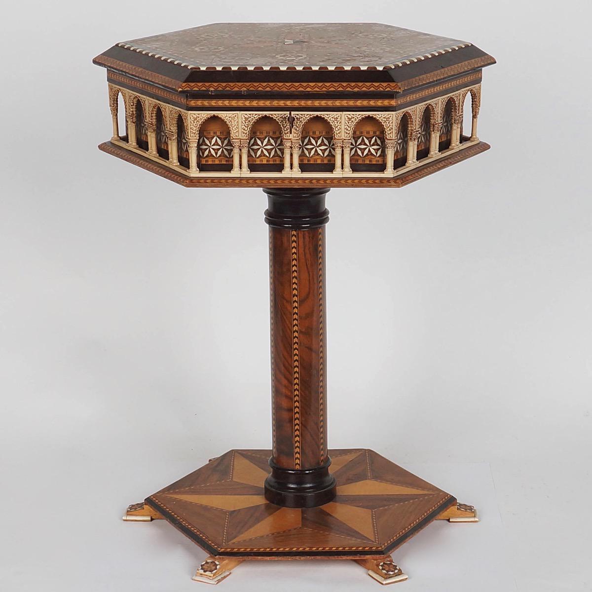 Oriental marquetrie table paul de grande antique for Table orientale