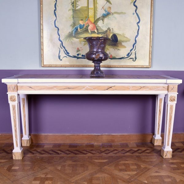 painted wood and marble topped side table, circa 1900