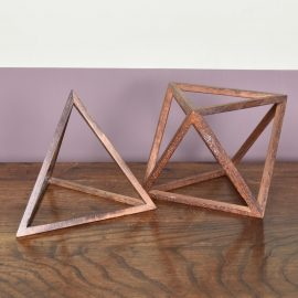 Set of two wooden prisma in the form of triangles