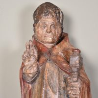 Haute epoque – Wooden Sculpture of a Saint Eveque, circa 1500