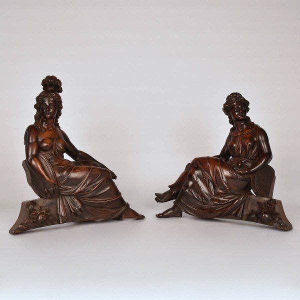Pair of walnut figures, 19th century