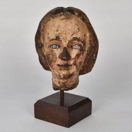 18th century south European carved wood head