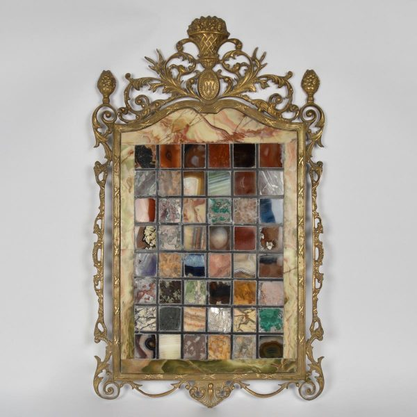 Rare marble collection panel with bronze frame