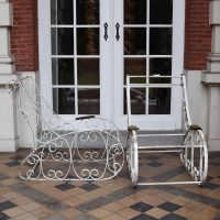 Painted wrought iron garden chairs