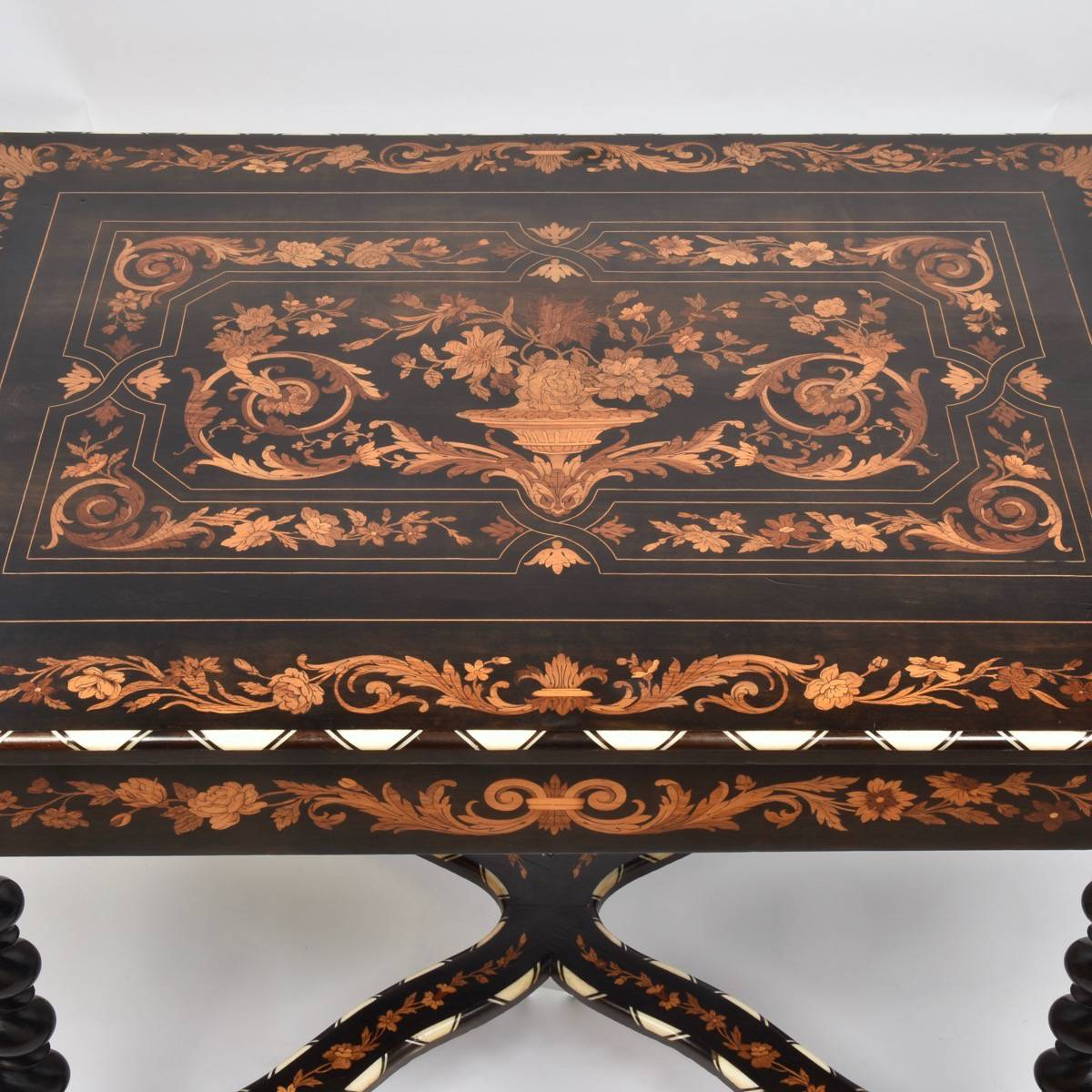 Gentil Antique Italian Marquetry Table