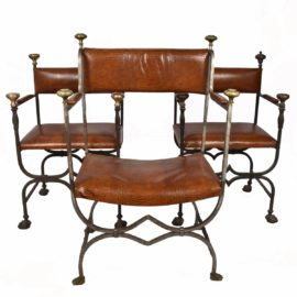 3 Forged Iron Chairs