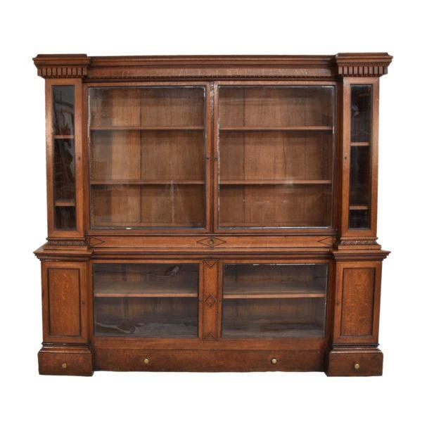 english-breakfront-oak-bookcase1