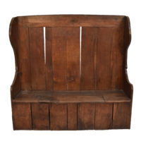 A Large 19th Century High Back Pine Settle Fireside Pub Bench
