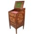 Marquetry desk, with a raised back and sloping Davenport type front