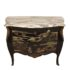 Black lacquer commode with marble top